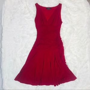 BCBGmaxazria Red Ruched Flare Sleeveless Dress